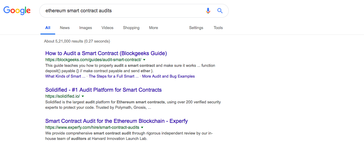 Ethereum smart contract audits | Source: Google