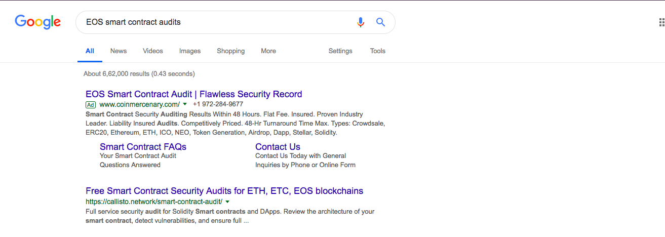 EOS smart contract audits | Source: Google