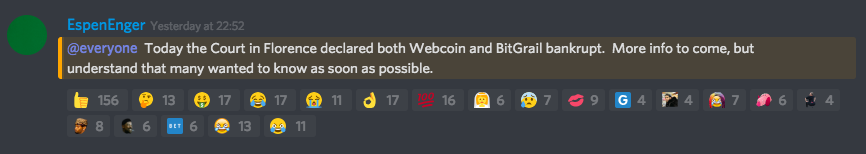 Bitgrail declaring bankruptcy | Source: Discord