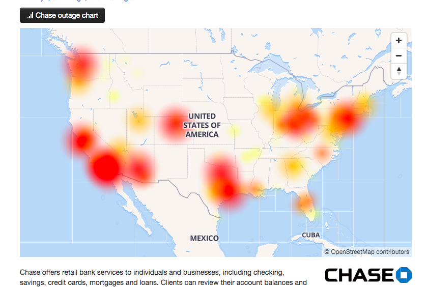 JPMorgan Chase down in the U. S | Source: DownDetector