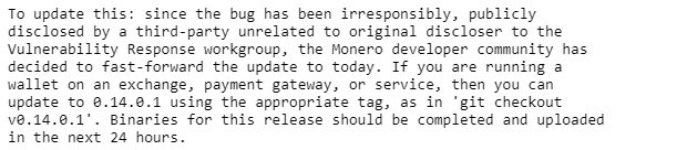 Monero bug | Source: Reddit
