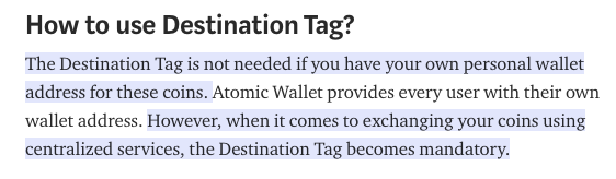 Destination Tag | Source: Atomic Wallet