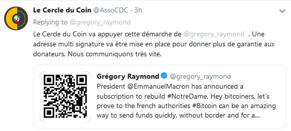 La comunidad de Bitcoin [BTC] se unió por el crypto-periodista francés después de que Prez Macron se comprometiera a reconstruir Notre-Dame