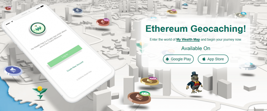 My Wealth Map [MWM] app allows users to gain massive Crypto Rewards via an interactive Ethereum Geocaching game!