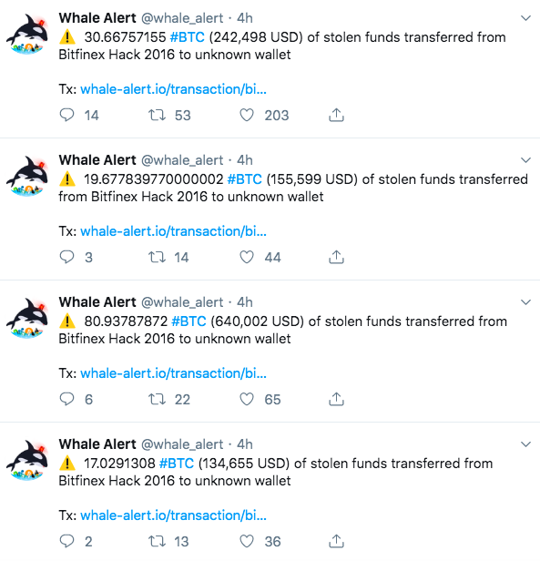BTC that was stolen on Bitfinex has finally been spotted