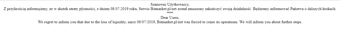 Bitmarket shuts operations after a quick notice
